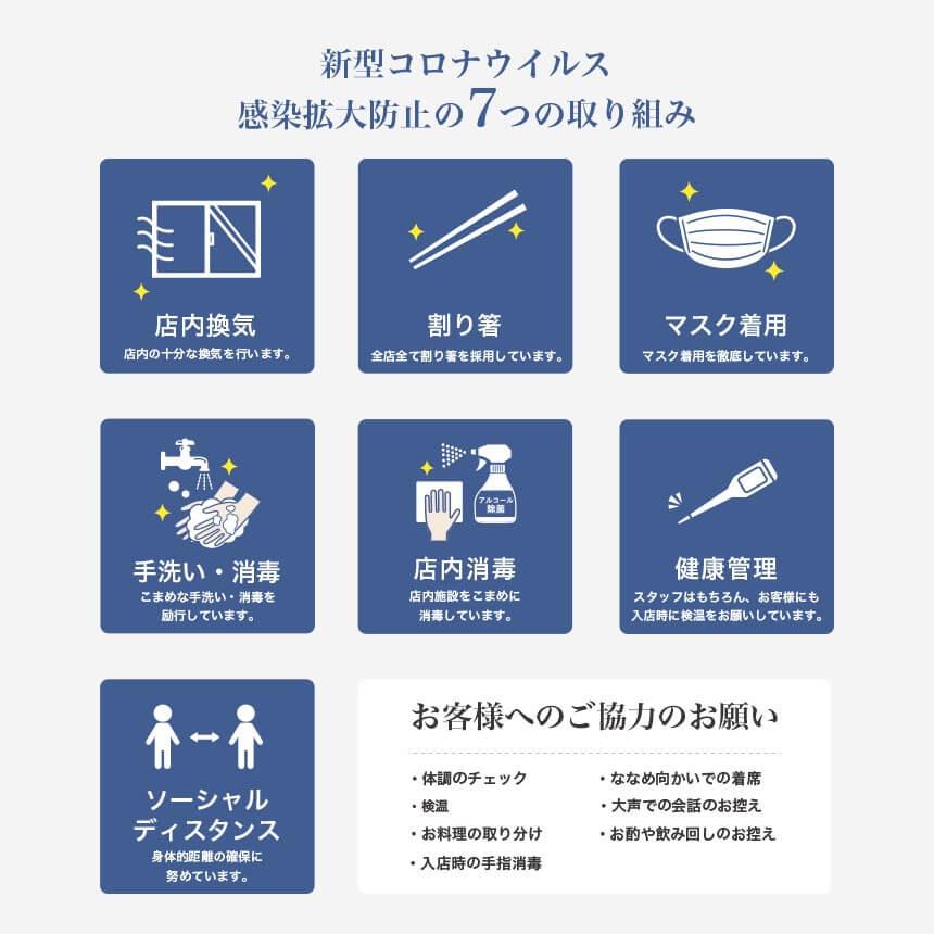 コロナ対策7つの感染防止対策。お客様のご協力をお願いいたします。